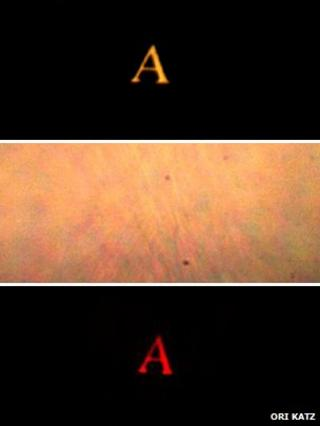 Scattered and re-imaged versions of the letter A