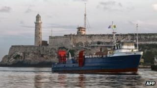 The cargo ship Ana Cecilia arrives in Havana harbour from Miami