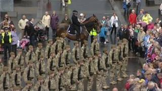 Soldiers parading through parts of East Yorkshire
