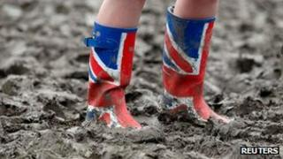 wellington boots in mud