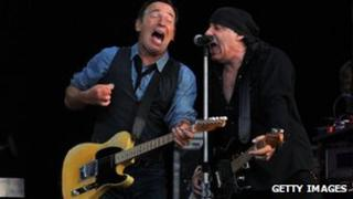 Bruce Springsteen and Steven Van Zandt performing at Hard Rock Calling