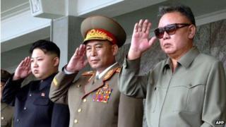 File photo: Ri Yong-ho (C) with Kim Jong-un (L) and Kim Jong-il