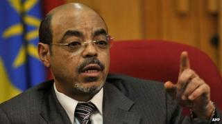 Ethiopian Prime Minister Meles Zenawi addresses a press conference at his office in Addis Ababa on May 26, 2010