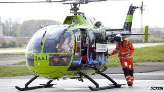 A Great Western Air Ambulance helicopter