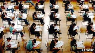 School pupils in exam hall