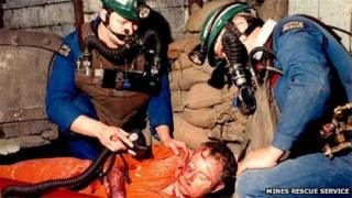 A Mines Rescue Service training exercise in the 1980s