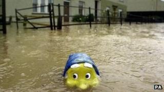 Flood waters in Hawick