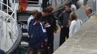 Members of the crew of the yacht Balkan which sank off Sark on 17 July 2012