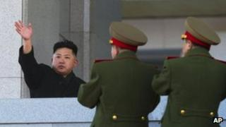 North Korean leader Kim Jong-un waves at Kumsusan Memorial Palace in Pyongyang on 16 February 2012