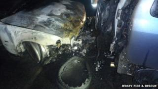 Two vehicles involved in a fire in St Brelade