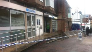 Police tape outside Barclays Bank, Llandaff, Cardiff