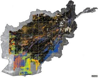 Map of Afghanistan surface minerals