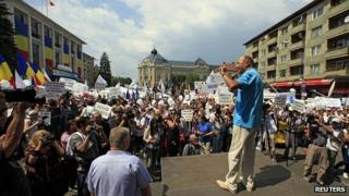 Romania's suspended President Basescu with supporters in Cluj-Napoca, 14 Jul 12