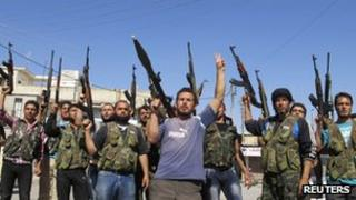 Free Syrian Army fighters in Aleppo province