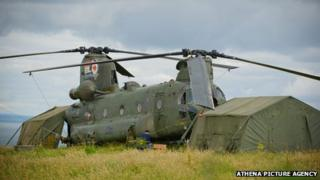 The Chinook landed in a field