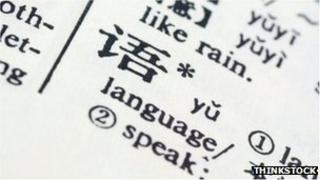 "Chinese character ""yu"" - meaning language - in a dictionary"