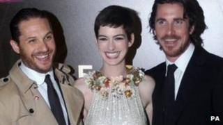 Tom Hardy, Anne Hathaway and Christian Bale