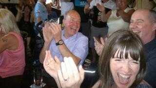 Villagers celebrate Bradley Wiggins Tour de France win in Eccleston, Lancashire
