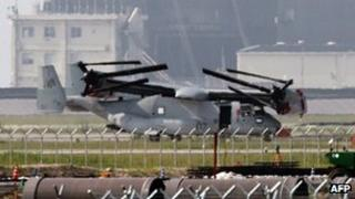 The US military's Osprey aircraft seen after being unloaded at a US base in Iwakuni city in Yamaguchi prefecture, western Japan on 23 July 2012