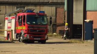 Fire engine outside factory
