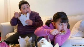 Children eating fast food