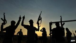 Members of Jihadist group Hamza Abdualmuttalib training near Aleppo on July 19, 2012