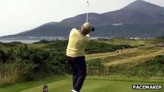 Jack Niklaus teeing off at Royal County Down in 2001