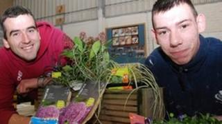 Lee Canning with community gardener Gareth Austin, who has been involved in setting up the community gardens
