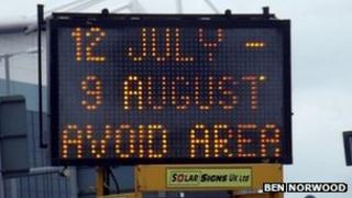 Sign outside City of Coventry Stadium