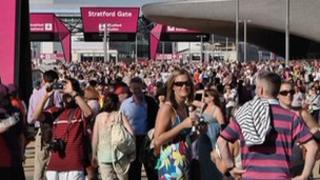 People arriving at the Olympic Park