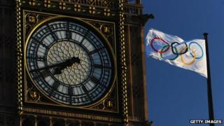 Big Ben and the Olympic flag