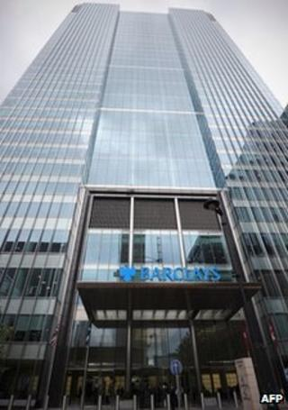 The Barclays Bank headquarters in Canary Wharf in east London