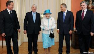 The Queen with former PMs