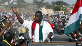 John Atta Mills at a rally (archive shot)
