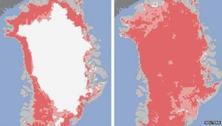 Nasa images reveal the extent of the surface melt over Greenland's ice sheet on July 8 (l) and July 12 (r)