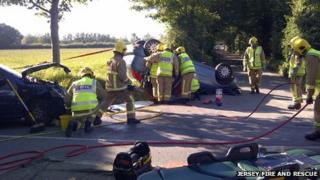Car overturned on Princes Tower Road