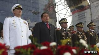 President Chavez (second from left) attends a ceremony to mark Navy Day in Puerto Cabello on 24 May