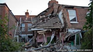 Scene of gas explosion in Southsea