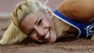 Voula Papachristou taking part in triple jump at the European Athletics Championships in Helsinki, Finland (June 2012)