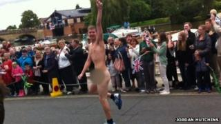 Streaker arrested at torch relay - courtesy Jordan Hutchins