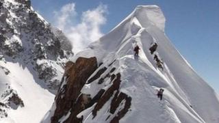 Climbers on Mazeno Ridge