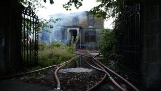 Firefighters tackle the blaze at a former nursing home in Ayr