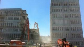 Demolition of Regent Circus college in Swindon