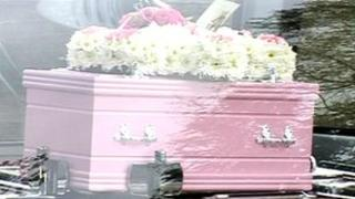 Pink coffin for the baby girl whose body was found at a Shipley recycling centre