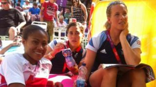 Great Britain women's players Rachel Yankey, Fara Williams and Rachel Brown watched Japan v Spain on the big screen at The Hayes in Cardiff