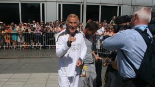 Sir Bruce Forsyth pulls a pose for BBC 2012