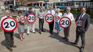 Council cabinet with 20mph signs