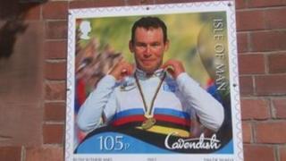Mark Cavendish on Manx stamp