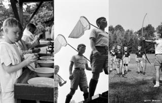 Scenes from 1950s summer camps in the USA