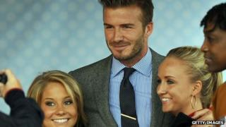 David Beckham with members of the US Olympic team